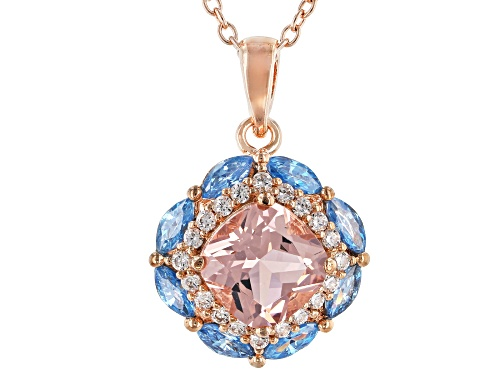 Photo of Bella Luce®2.50CTW Esotica™Morganite,Aqua,And White Diamond Simulants Eterno™Rose Pendant With Chain