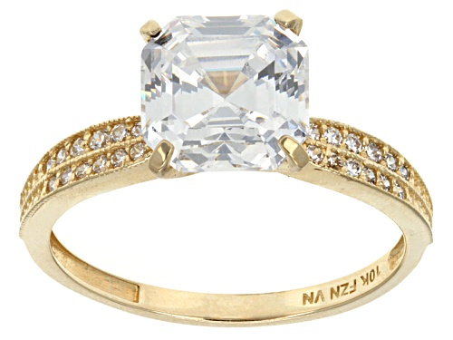 Bella Luce ® 5.36ctw Square Asscher Cut And Round 10k Yellow Gold Ring - Size 9