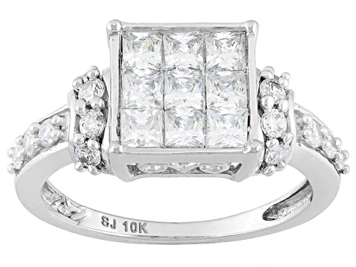 Photo of Bella Luce ® Diamond Simulant 2.07ctw Princess Cut And Round, 10k White Gold Ring (1.25ctw Dew) - Size 12