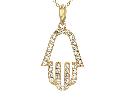 Photo of Bella Luce ® .44ctw 10k Yellow Gold Hamsa Pendant With Chain (.24ctw Dew)