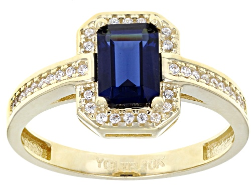 Photo of Bella Luce® 2.13ctw Lab Created Blue Spinel and White Diamond Simulant 10k Yellow Gold Ring - Size 7