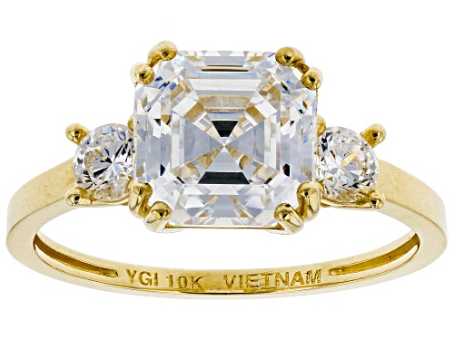 Photo of Bella Luce ® 4.83ctw Asscher Cut and Round White Diamond Simulant 10K Yellow Gold Ring (2.38ctw DEW) - Size 10