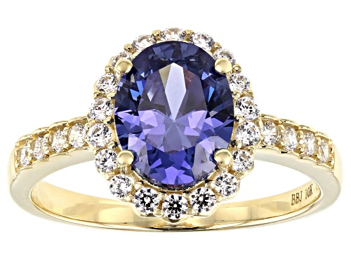 Photo of Bella Luce ® 2.95ctw Blue Tanzanite and White Diamond Simulants 10k Yellow Gold Ring - Size 7
