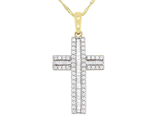 Photo of Bella Luce ® 0.85ctw 10k Yellow Gold Cross Pendant With Chain
