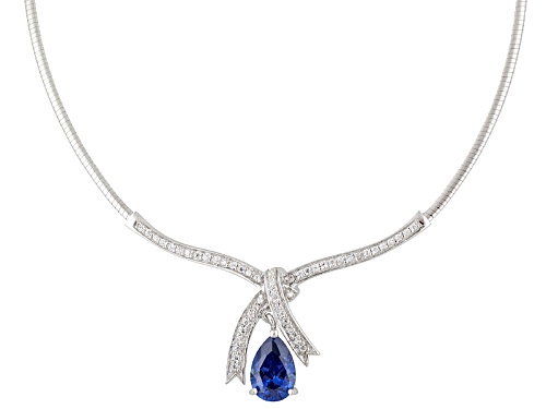 Photo of Bella Luce ® Esotica ™ 5.76ctw Tanzanite & White Diamond Simulants Rhodium Over Silver Necklace - Size 18