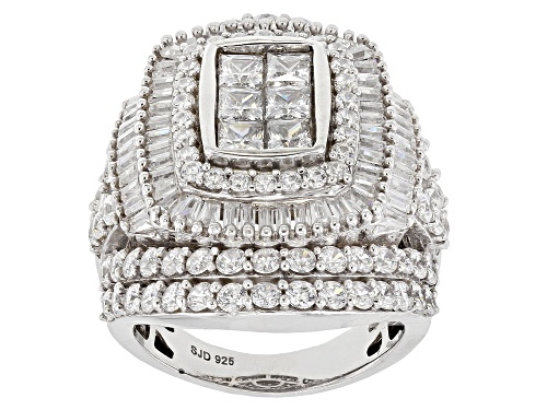 Photo of Bella Luce ® 8.65ctw White Diamond Simulant Rhodium Over Sterling Silver Ring (4.93ctw Dew) - Size 5