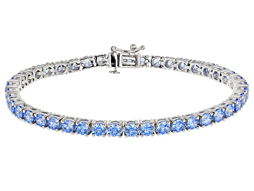 Bella Luce Luxe (TM) Featuring Arctic Blue Zirconia From Swarovski ® Rhodium Over Silver Bracelet - Size 7.5