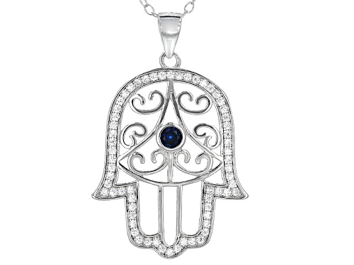 Photo of Bella Luce®.66ctw Lab Blue Spinel and Diamond Simulant Rhodium Over Silver Hamsa Pendant With Chain