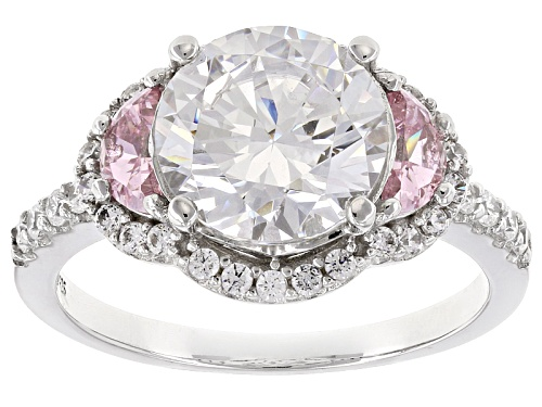 Photo of Bella Luce ® 6.19ctw Pink & White Diamond Simulants Rhodium Over Sterling Silver Ring - Size 10