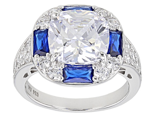 Photo of Bella Luce ® 10.93ctw Sapphire & White Diamond Simulants Rhodium Over Sterling Silver Ring - Size 8