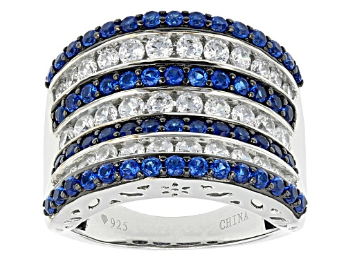 Photo of Bella Luce ® 3.26ctw Lab Created Blue Spinel And White Diamond Simulant Rhodium Over Silver Ring - Size 7