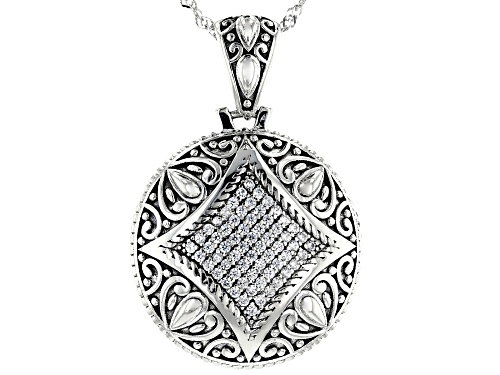 Photo of Bella Luce  0.70ctw White Diamond Simulant Rhodium Over Silver Pendant With Chain