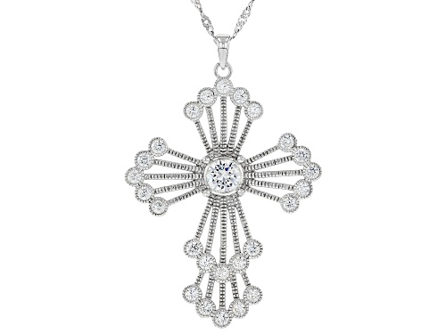 "Photo of Bella Luce ® Rhodium Over Sterling Silver Cross Pendant With 18"" Chain and 2"" Extender"