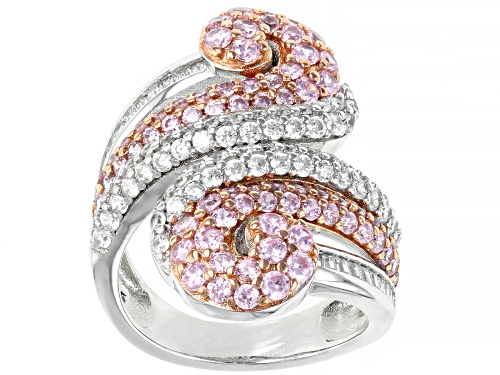 Photo of Bella Luce® 5.34ctw Pink and White Diamond Simulants Rhodium Over Sterling Silver Ring (2.82ctw DEW) - Size 7