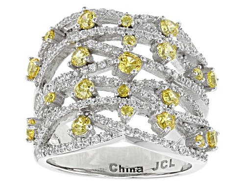 Photo of Bella Luce ® 3.22ctw Canary And White Diamond Simulants Rhodium Over Sterling Ring (1.82ctw Dew) - Size 8