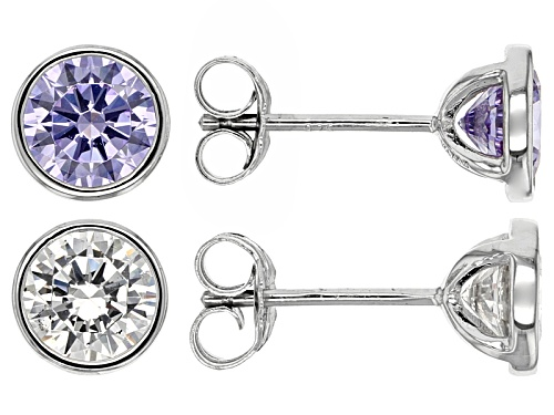 Photo of Bella Luce®5.72ctw Lavender & White Diamond Simulants Rhodium Over Silver Earrings-Set Of 2