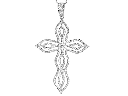 Photo of Bella Luce ® 2.51ctw Rhodium Over Sterling Silver Cross Pendant With Chain (1.37ctw Dew)
