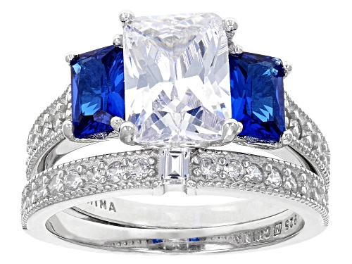 Photo of Bella Luce ®5.77tw Blue Sapphire And White Diamond Simulants Rhodium Over Sterling Ring With Band - Size 8