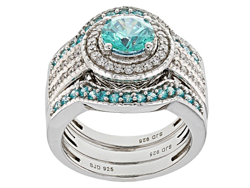 Photo of Bella Luce ® 3.94ctw Rhodium Over Silver Ring With Bands With Mint Swarovski ® Zirconia - Size 8