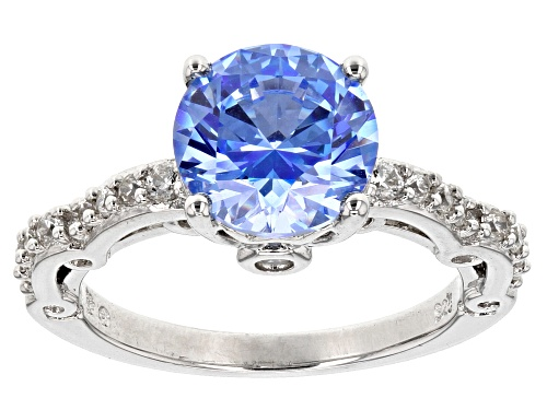 Bella Luce ® Rhodium Over Silver Ring With Arctic Blue Swarovski ® Zirconia - Size 10