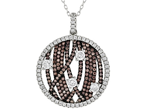 Photo of Bella Luce ® 2.58ctw Mocha & White Diamond Simulants Rhodium Over Silver Pendant With Chain
