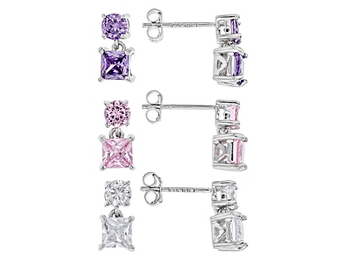 Photo of Bella Luce ®7.04ctw Lavender,White,& Pink Dia Simulants Rhodium Over Silver Earrings Set Of 3