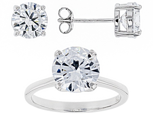 Photo of Bella Luce® 8.68ctw Rhodium Over Sterling Ring and Earrings (5.11ctw DEW)