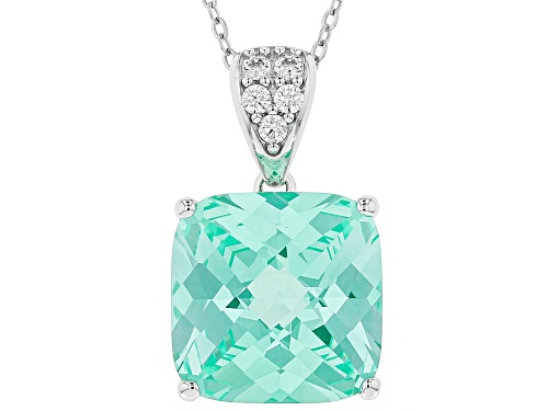 Photo of Bella Luce®12.77ctw Caribbean Green™and White Diamond Simulants Rhodium Over Sterling Pendant