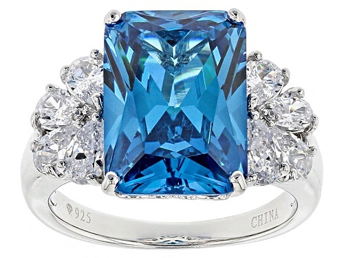 Photo of Bella Luce ® 12.91ctw Blue Apatite And White Diamond Simulants Rhodium Over Sterling Silver Ring - Size 5