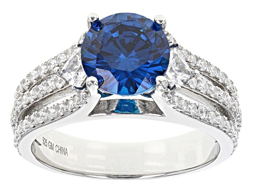 Photo of Bella Luce ®4.95ctw Blue Apatite And White Diamond Simulants Rhodium Over Sterling Ring - Size 7