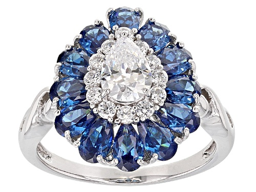 Photo of Bella Luce ® 4.77ctw Blue Apatite And White Diamond Simulants Rhodium Over Sterling Ring - Size 7