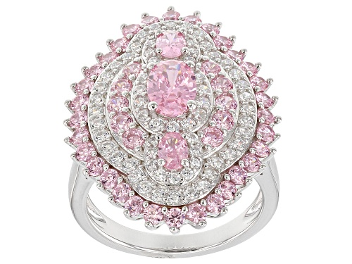 Photo of Bella Luce ® 6.74CTW Pink & White Diamond Simulants Rhodium Over Silver Ring (3.47CTW DEW) - Size 5