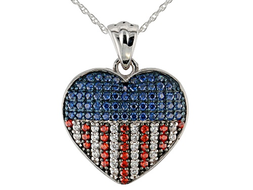 Photo of Bella Luce®1.27CTW Sapphire, Red, And White Diamond Simulants Rhodium Over Silver Pendant With Chain