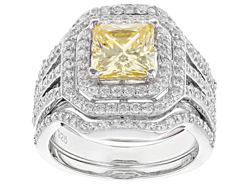 Bella Luce ® 6.42CTW Canary & White Diamond Simulants Rhodium Over Sterling Silver Ring With Bands - Size 10