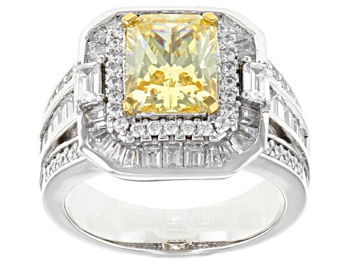 Photo of Bella Luce ® 6.30CTW Canary & White Diamond Simulants Rhodium Over Silver Ring - Size 9