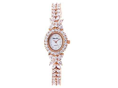 Photo of BELLA LUCE (R) LADIES 20.84CTW ROUND, PEAR & MARQUISE 18K ROSE GOLD OVER STERLING SILVER WATCH