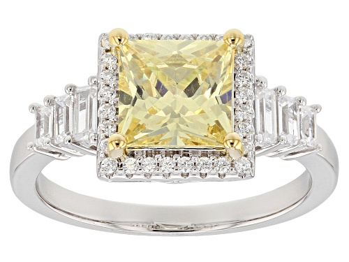 Photo of Bella Luce ® 3.14CTW Canary & White Diamond Simulants Rhodium Over Sterling Silver Ring - Size 10