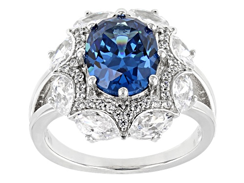 Photo of Bella Luce ® 7.29CTW London Blue Topaz & White Diamond Simulants Rhodium Over Silver Ring - Size 8