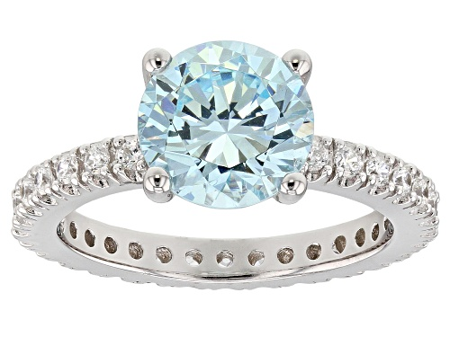 Photo of Bella Luce ® 5.57CTW Aqua And White Diamond Simulants Rhodium Over Sterling Silver Ring - Size 12