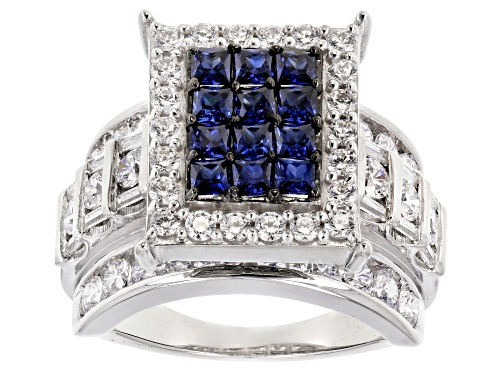 Photo of Bella Luce ® 5.90CTW Sapphire & White Diamond Simulants Rhodium Over Silver Ring - Size 12