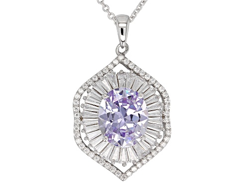 Photo of Bella Luce ® 10.50CTW Lavender & White Diamond Simulants Rhodium Over Silver Pendant With Chain