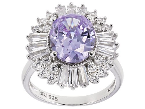Photo of Bella Luce ® 8.16CTW Lavender & White Diamond Simulants Rhodium Over Silver Ring - Size 11