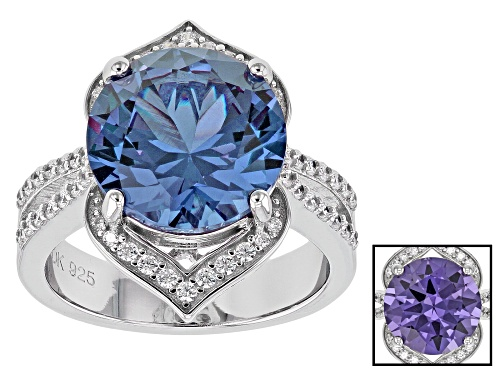 Photo of Bella Luce ® Lab Created Sapphire & White Diamond Simulant Rhodium Over Silver Ring - Size 11