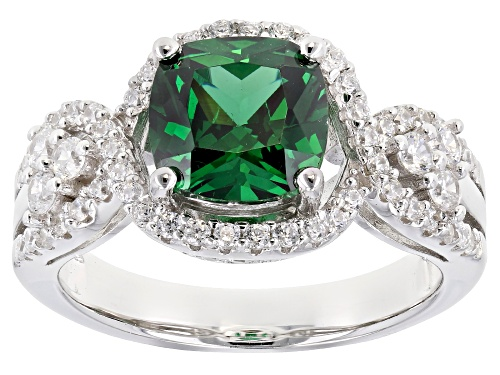Photo of Bella Luce ® 5.02CTW Emerald And White Diamond Simulants Rhodium Over Sterling Silver Ring - Size 11