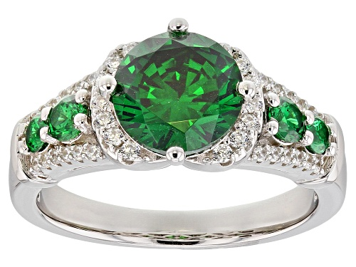 Photo of Bella Luce ® 4.14CTW Emerald & White Diamond Simulants Rhodium Over Sterling Silver Ring - Size 10