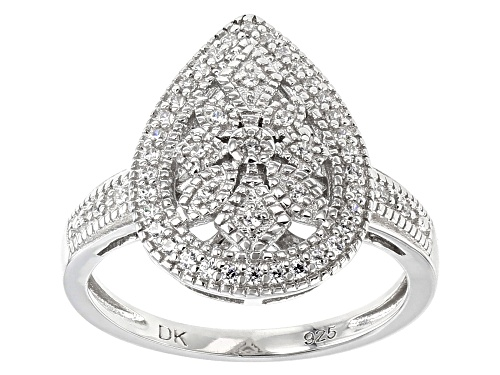 Bella Luce ® 0.42CTW White Diamond Simulant Rhodium Over Sterling Silver Ring (0.23CTW DEW) - Size 7