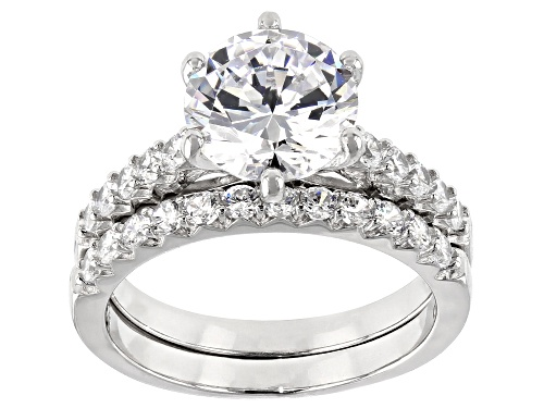 Photo of Bella Luce ® 5.45CTW White Diamond Simulant Rhodium Over Sterling Silver Ring With Band - Size 8