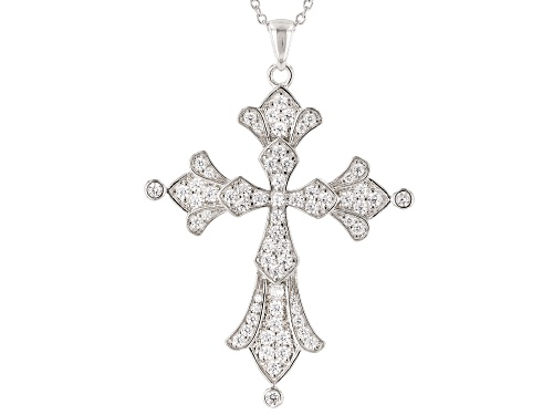 Photo of Bella Luce ® 2.20CTW White Diamond Simulant Rhodium Over Silver Cross Pendant With Chain