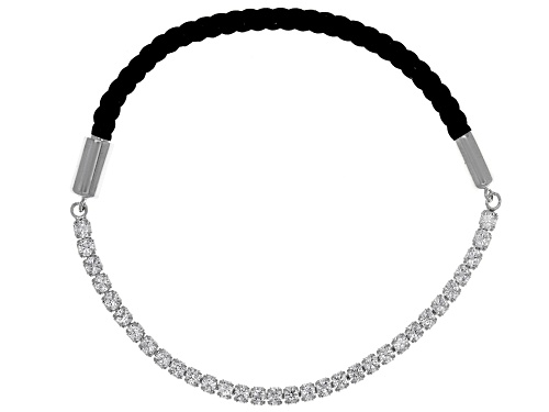 Photo of Bella Luce ® 3.36CTW White Diamond Simulant Rhodium Over Silver Black Chord Bracelet - Size 7.25