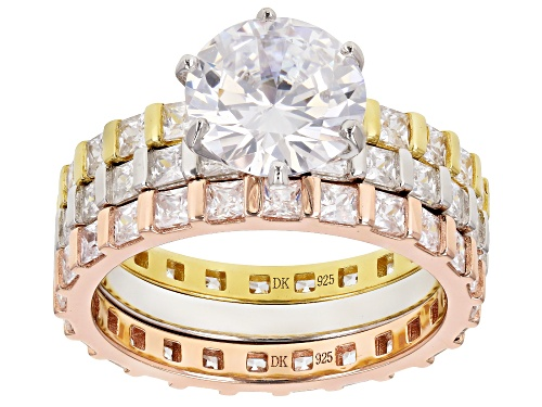 Photo of Bella Luce ® 9.26CTW Diamond Simulant Rhodium Over Silver, Eterno™ Yellow & Rose Ring With Bands - Size 8